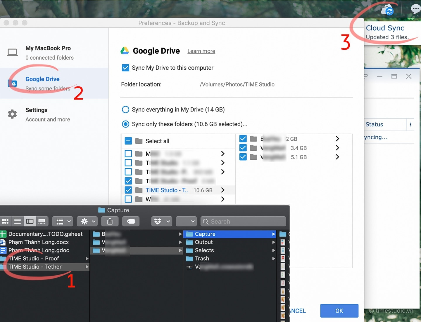 Sync photos from a local computer to Google Drive and a remote NAS